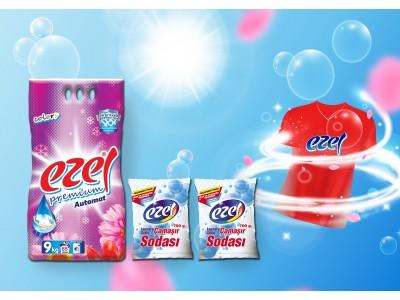 Ezel Premium Renkliler İçin Toz Çamaşır Deterjanı 9 KG 2 Adet Soda